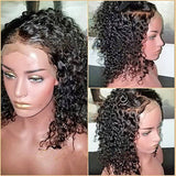 Human Hair 180% Density 360 Lace Frontal preplucked  Curly water wave Wig Natural Black Color with bleached Knots