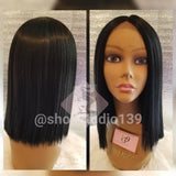 Black Human Hair Blend lace front blunt cut bob wig