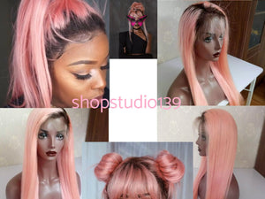 1b Pink Ombre Color Lace Front Human Hair Wigs Straight Black Root Pink Glueless