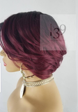 Peyton burgundy ombre Bob with deep side part perfect for all skin tones