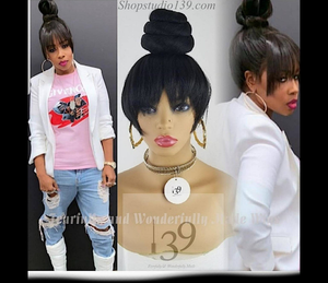 Celebrity Quick Clip in hair extention chinese bang bun pieces perfect and Fast for any occasion