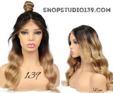 Honey Blonde 1b 27 color Full lace ombra Brazilian Remy human Hair Wavy Lace Wigs With Baby Hair.