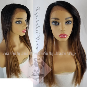Rosie is a beautiful peekaboo highlighted with blonde lace front wig with bangs and shifting part