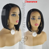 Sexy black lace front bob wig with deep side part perfect for all skin tones