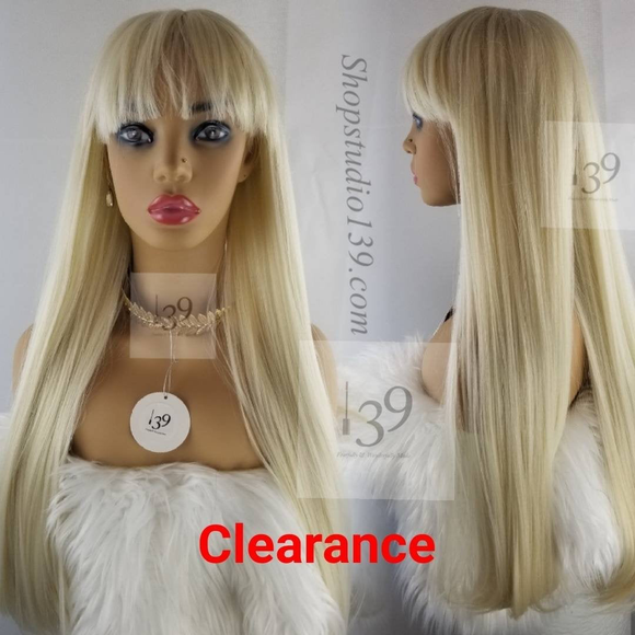 Platinum blonde long human hair wig with bangs perfect for all skin tones