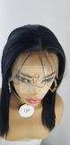 Sexy straight black lace front bob wig with deep middle part and baby hair