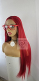 Red lace front wig with free parting space perfect for all skin tones