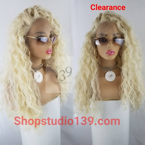 Big Curly blonde water wave lace front wig
