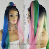 (Yolanda)Rainbow lace front wig with circle part for top knot