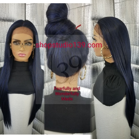 (Jessica) 360 blue/black Silk top lace front wig