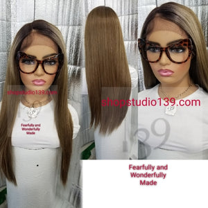 (Becky)Ash Brown lace front wig With shifting part