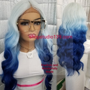 Blonde/ Blue body wave lace front wig