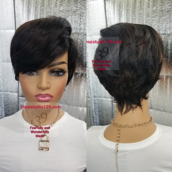 Lois) `short pixie wig with side part and bangs