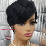(Jade) Short and Sexy pixie wig with side part and bangs