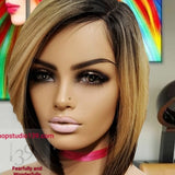 (Lauren) Non Lace Bob wig with highlights and side part