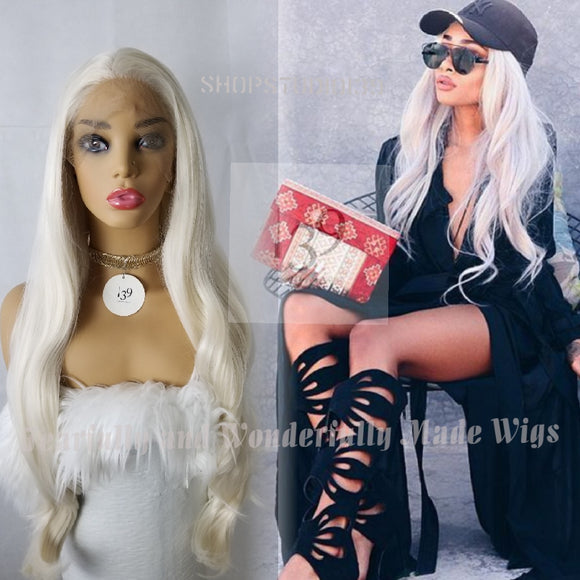 (Milly) Platinum blonde lace front wig