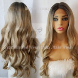 (Jay) Ash Blonde with bark roots bodywave lace front