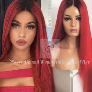 (Red hot)lace front wig with dark roots