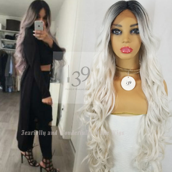 (Melanie) Sexy Sliver 30' lace front wig perfect for all skin tones