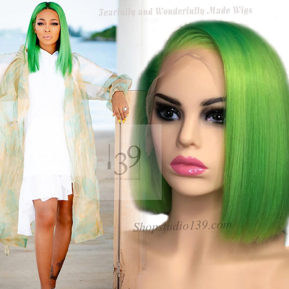 Celebrity inspired Green 100% human hair lace front Bob Wig