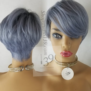 Mia Custom made and colored perfect for all blueish gray pixie cut wig human hair blend