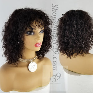 Sharon is a Sexy 100% Human Hair Water Wave Wig With Bangs
