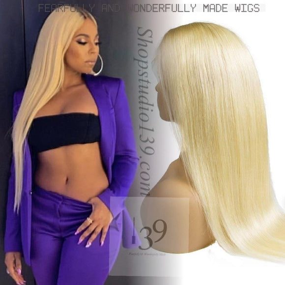 100% Human Blonde Ombre Lace Front Wig With Dark Roots