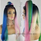 Colorful lace front wig with circular parting space