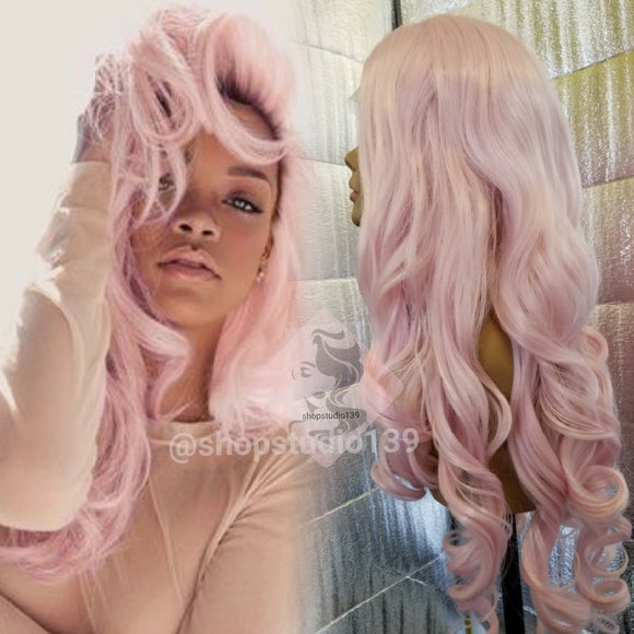 Pretty Pink Loose Curls Lace Front Wig