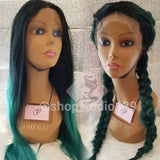 2N1 green ombre lace front wig