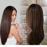 (Mercy) human hair blend lace front with natural side part