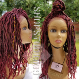 (Ebony) Faux Locs human hair blend lace front wig