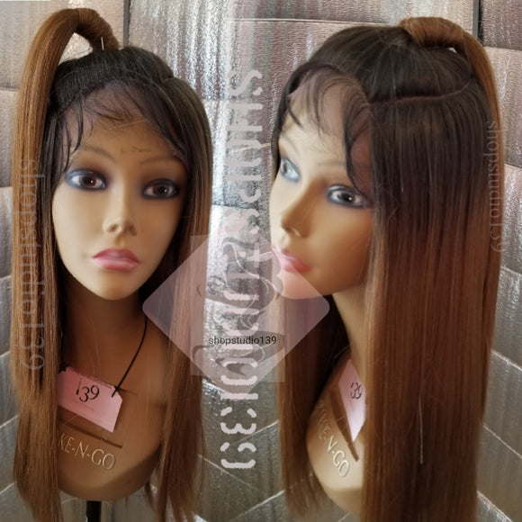 Human hair blend lace front wig with circular parting space