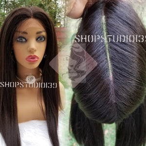 (Sky) Human hair blend 360° wig with multiple parts