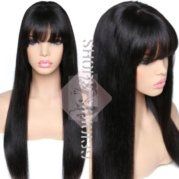 ( MaryJoe) Glueless Human Hair Lace Front wig with bangs and bleached knots