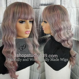 Spice Lavender Body Wave Wig With Bangs