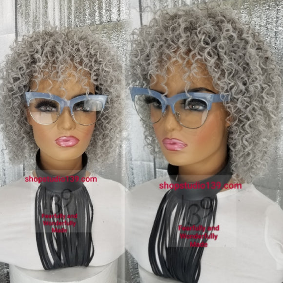 (Salty) salt and pepper curly wig with bangs
