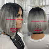Sexy Grey Bob wig with deep middle part