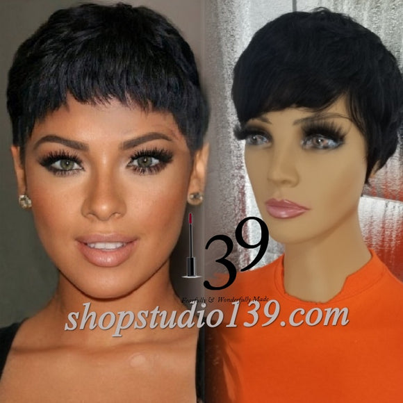 Short pixie wig with tapered back