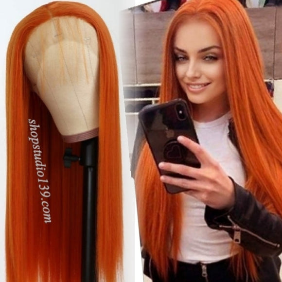 Burnt Orange Free Part Lace Front Wig