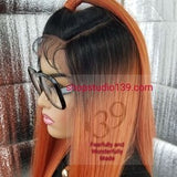 (Yolanda) Punkin Patch orange lace front wig with circle part