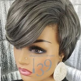 (Jade) Salt and Pepper short pixie wig
