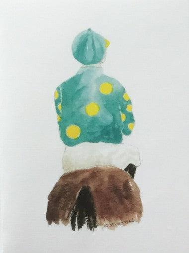 Lone Jockey Greeting Card - 2 Colors