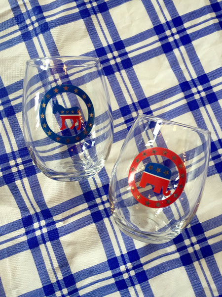 Political Party Stemless Wine Glasses