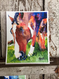 Grazing Horses Watercolor Print