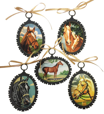 Horse Print Ornament Set