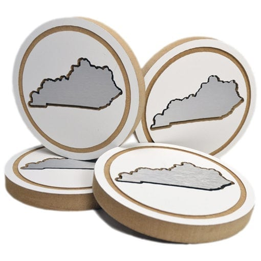 KY White State Coaster Set