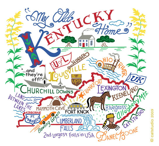 Kentucky Map Towel