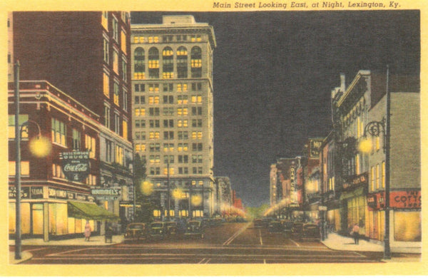 Main Street Looking East at Night Lexington, Ky Postcard