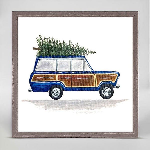 Blue Woodie Wagon Mini Framed Canvas